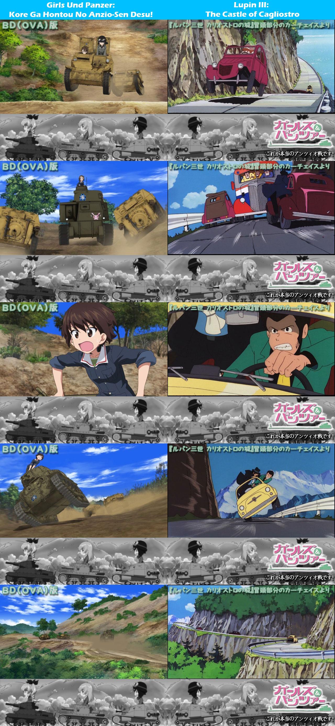 Girls-Und-Panzer-Kore-Ga-Hontou-No-Anzio-Sen-Desu-Lupin-III-The-Castle-of-Cagliostro-Homage-Comparison