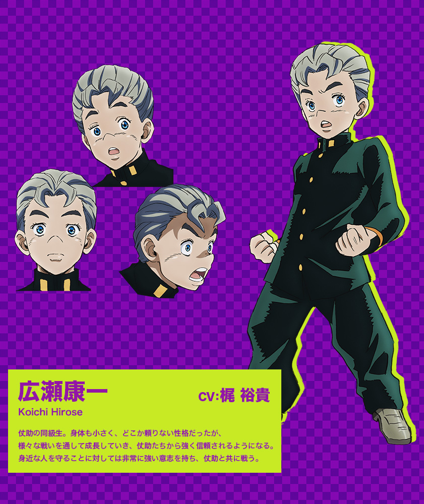 JoJos-Bizarre-Adventure Diamond-Is-Unbreakable-Anime-Character-Design-Koichi-Hirose
