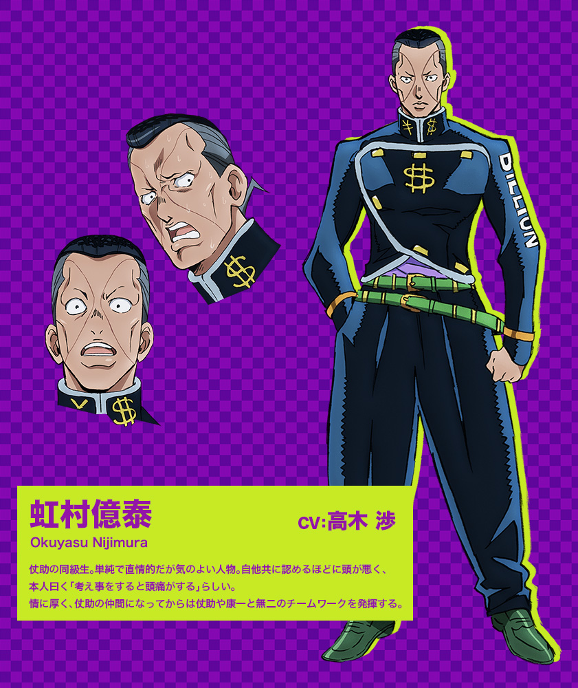 JoJos-Bizarre-Adventure Diamond-Is-Unbreakable-Anime-Character-Design-Okuyasu-Nijimura