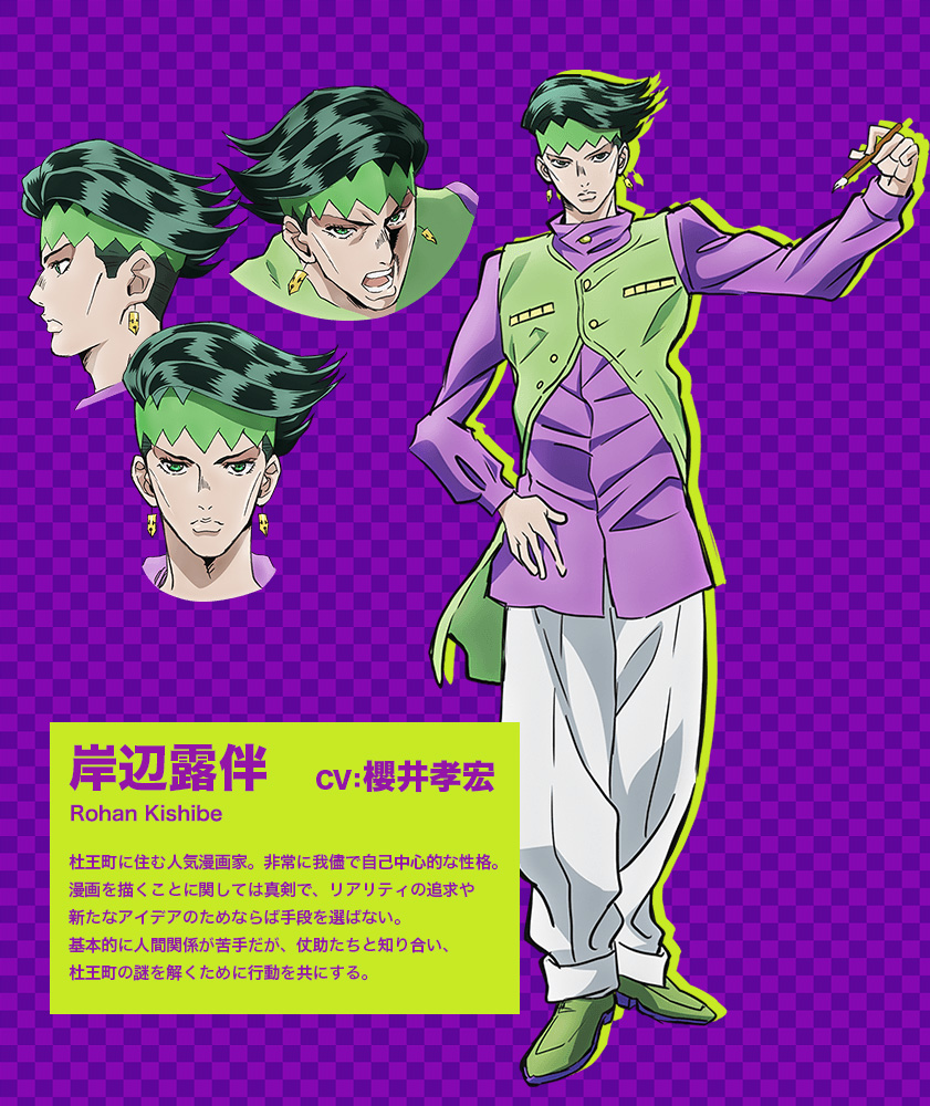 JoJos-Bizarre-Adventure Diamond-Is-Unbreakable-Anime-Character-Design-Rohan-Kishibe